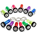 Kidsco Mini Flashlight Keychains - 6 Pieces Assorted Color Mini Plastic Pocket Torch - 2 Inches Battery Powered LED Key Ring Light for Bag & Belt Loop Accessory, Party Gifts and Events Giveaways - By