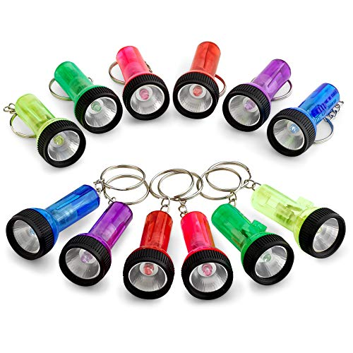 (Mini Flashlight Keychains - 12 Pieces Assorted Color Mini Plastic Pocket Torch - 2 Inches Battery Powered LED Key Ring Light for Bag & Belt Loop Accessory, Party Gifts and Events by Kidsco)