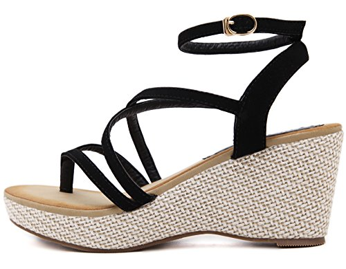 Strappy By Women High Black Sandals BIGTREE Bohemian For Heel Sandals Platform Wedge Xzw61Rq