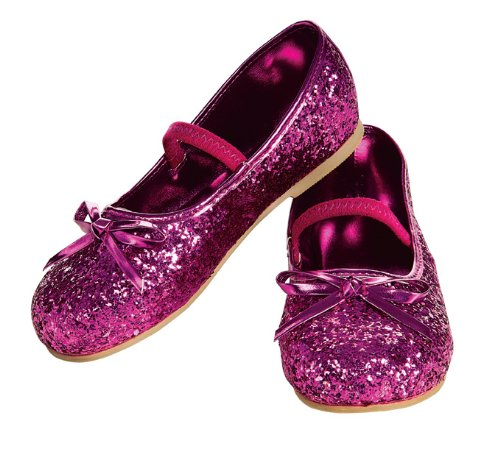 Child's Magenta Glitter Costume Flats, (Pink Sparkle Witch Costumes)