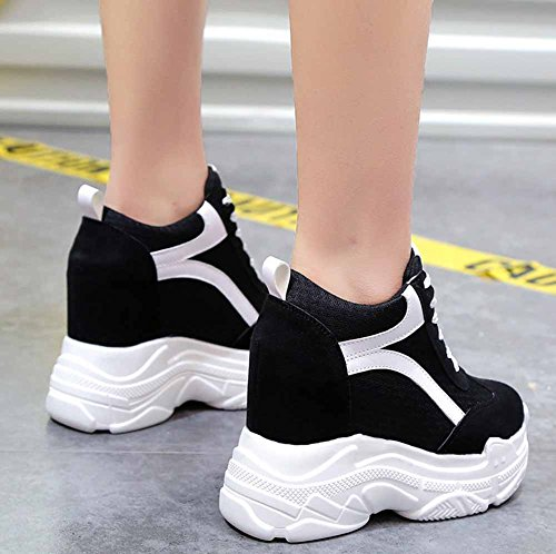 Grueso Creativo Color Aumentado 2018 Mujer Alto Black Mezclado Zapatos Tacón Plataforma Zapatillas O7YnwS