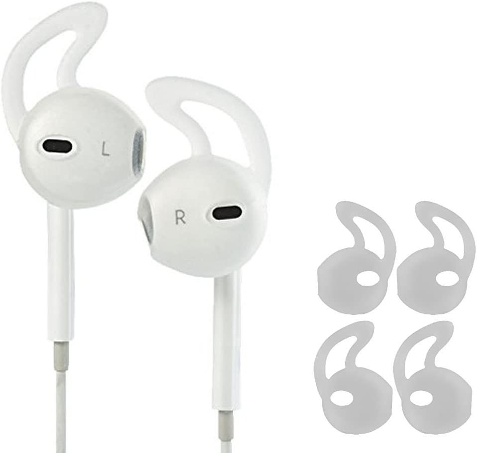 ZZoo Earpod Cover Secure Fit Grip Compatible with iPod Touch Nano, Shuffle, iPhone 5, and iPhone 6 Earphone Earbuds Headphones - Perfect for Running Exercise Gym and Sports (2Pairs-White)