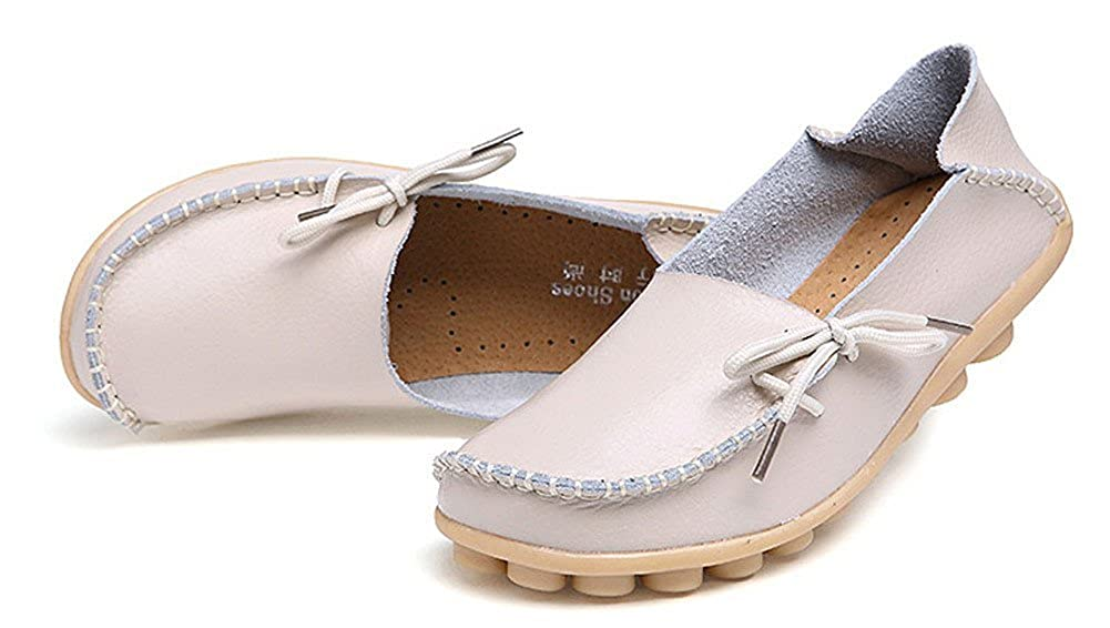 LONSOEN Women Moccasin Driving Shoes Casual Solid Leather Loafer and Slip On Boat Flats