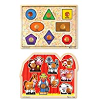 Melissa & Doug Jumbo Knob Wooden Puzzles - Shapes and Farm Animals