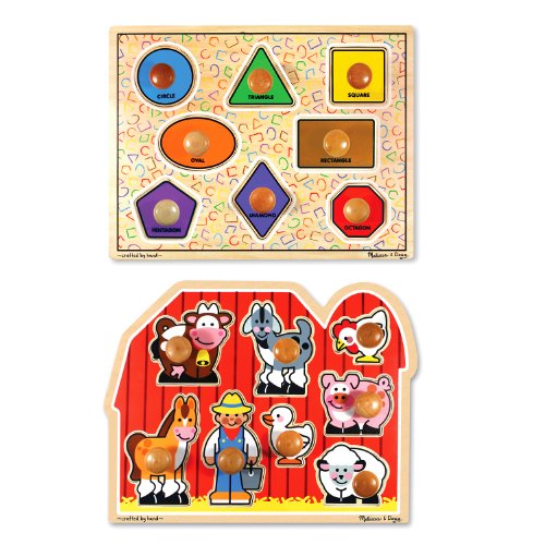 Melissa & Doug Jumbo Knob Wooden Puzzles - Shapes and Farm Animals (Animal Shapes Puzzle)