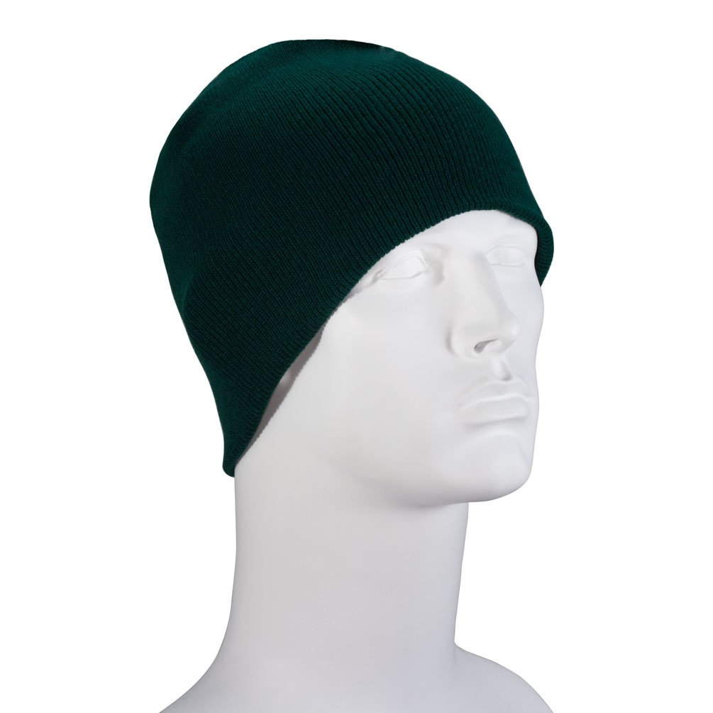cbbcca3278cdb9 100% Soft Acrylic - Hunter Green Dozen Packed Solid Color Beanie Winter Hat  - Unisex Plain Skull Knit Cap - Made in USA