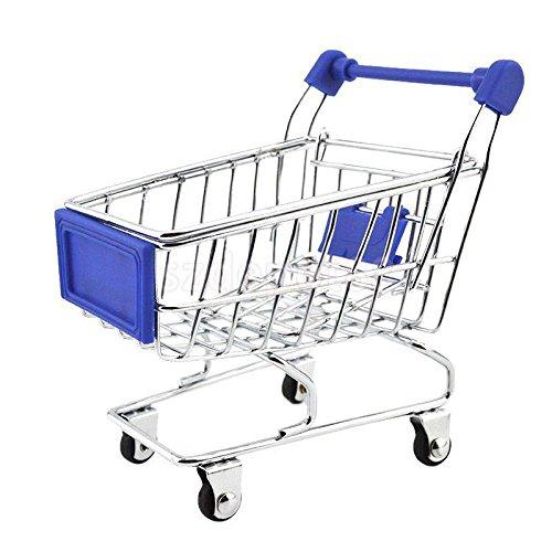 Mini Shopping Cart Salesman Sample Childs Toy Metal Shopping Buggy Dark Blue