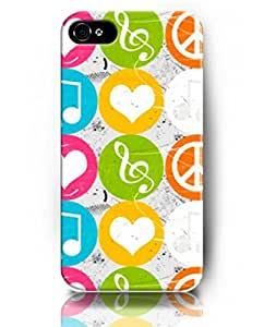 Case for iPhone 5S 5 , UKASE Protective Snap on Case Skin with Elegant Design of Music Notes and Heart