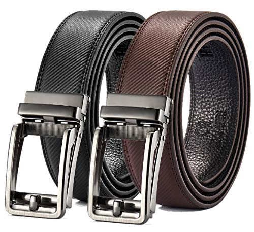 Ratchet Belt Gift Set, Leather Click Belt Dress with Sliding Buckle 1 3/8