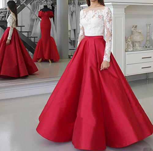 Applique Lace Princess Dresses Red BessDress Gown Long Elegant Sleeves Ball 2018 Prom Dresses BD446 wwUfA04Y