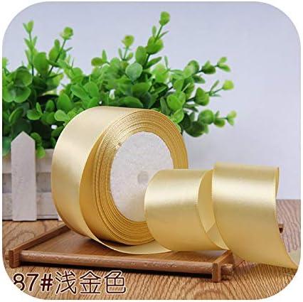 kawayi-桃 6/10/15/20/25/40 / 50mmサテンリボンDIY人工シルク工芸用品ソーイングアクセサリースクラップブッキング素材ギフトボックスベルト-light golden-25mm
