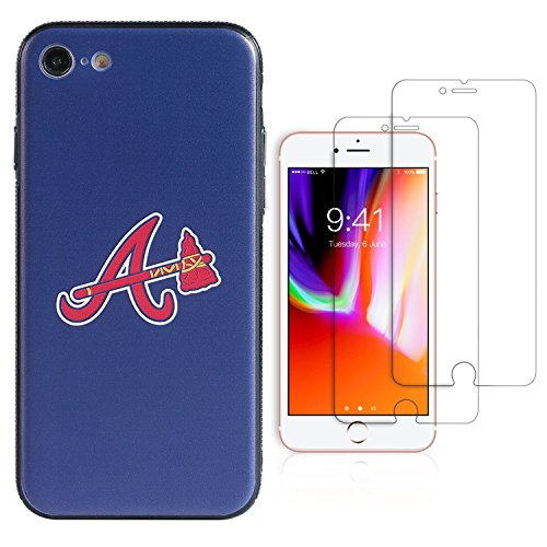 """Sportula MLB Phone Case, Compatible for APPLE iPhone 7, iPhone 8 (4.7""""), Matching 2 Premium Screen Protectors Extra Value Set (Atlanta Braves)"""