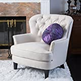 Cheap Great Deal Furniture Alfred | Button-Tufted Fabric Club Chair with Studded Accents | in Ivory