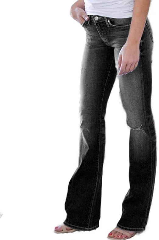 Tootess Women's Stretch High Waist Regular-Fit Washed Denim Pants Bootcut Jeans
