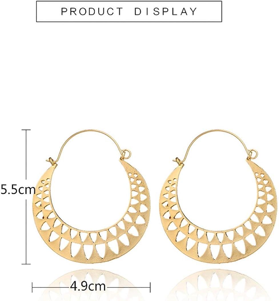 Vintage Gold Silver Hollow Heart Hoop Earrings Women Ethnic Punk Jewelry Gifts
