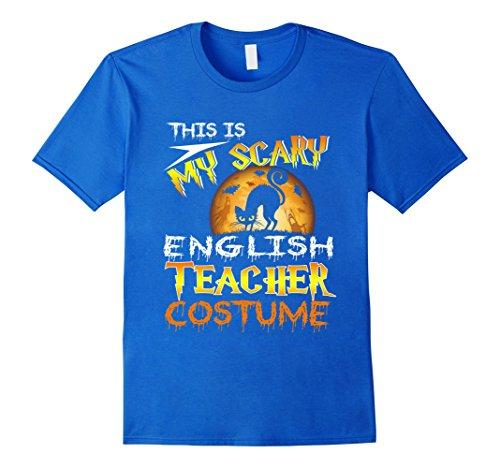 Mens My Scary English Teacher Costume Shirt Cat Moon Halloween 2XL Royal Blue