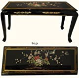 Asian Black Lacquer Sofa Table with Ball and Claw Feet. Hand Painted with Glass Top – 44″ W. For Sale