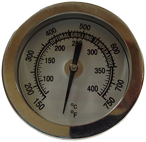 Winters BBQ1 Premium BBQ Grill Thermometer, Stainless Steel Construction, Glass Lens, Back Connect, 5/16-18″ Thread, Silver