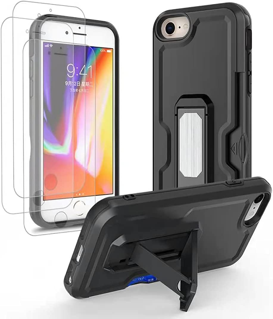 iPhone 7 case,iPhone 8 Case,iPhone SE 2020 Case with Screen Protector [3 Pack],Multi-Function Phone casewith Card Holder Slot and Invisible Folding Stand for 4.7 Inch iPhone 6/7/8/SE 2020-Black