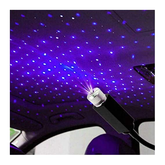 PINZU Car Interior Atmosphere Lamp Ambient USB Star Light Auto Roof Projector in Blue