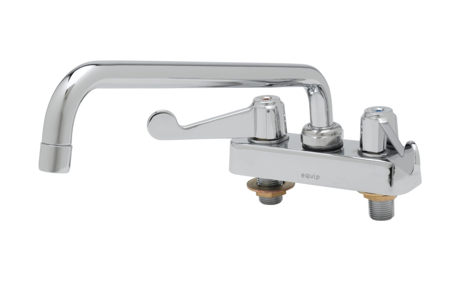 T/&S Brass 5F-4CWX12  Equip 4-Inch C//C Deck Mount Workboard Fct with 12-Inch Swing Nozzle 4-Inch Wrist Action Handles