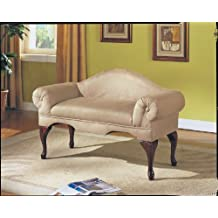 Acme 05630 Aston Microfiber Rolled Arm with Back Bench, Beige Finish