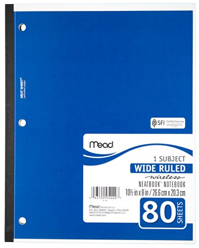 043100052227 - Mead 1-Subject Wireless Notebook, 10.5 x 8 Inches, Wide Ruled, 80 Sheets (05222) carousel main 1