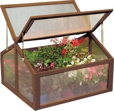 Allblessings Green House Double Box Wooden Cold Frame Raised Plants Bed Garden Protection New - Greenhouse Glazing Polycarbonate