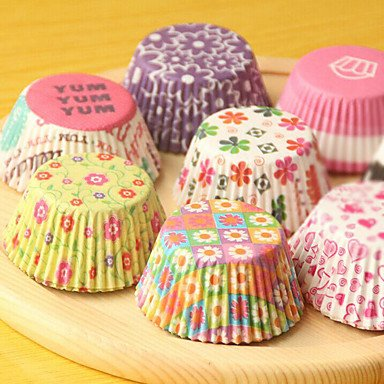 FMY (Color random)100Pcs/Sale Cute Paper Cake Cup Liners Baking Cup Muffin Kitchen Cupcake dessert Ice cream Cases