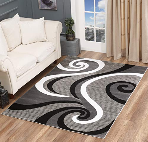 Golden Rugs Modern Area Rug Swirls Carpet Bedroom Living Room Contemporary Dining Accent Sevilla Collection 4817 (4x6, Grey)