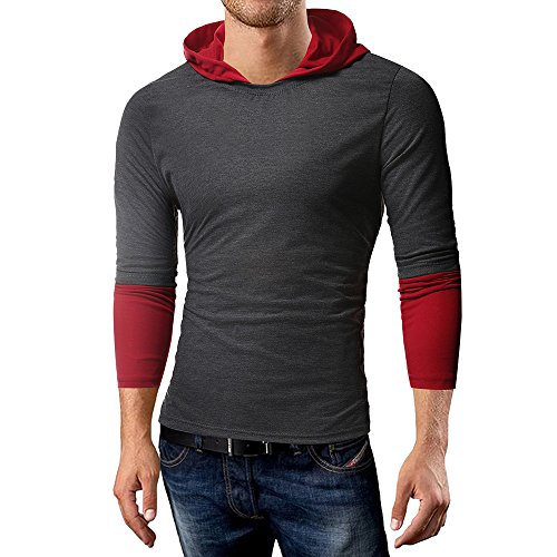 Realdo Clearance Sale Mens Tops,Slim Solid Splice Joint Hoodie Long Sleeve Shirt Blouse(Large,Dark Grey)