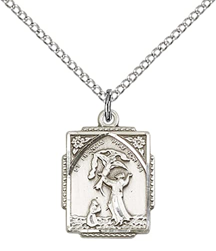 Sterling silver st francis of assisi pendant with 18 stainless sterling silver st francis of assisi pendant with 18quot stainless steel lite curb chain aloadofball Choice Image