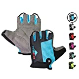 LuxoBike Blue Cycling Gloves Bicycle Gloves Bicycling Gloves Specialized Mountain Bike Gloves Men - Anti Slip Shock Absorbing Padded Breathable Half Finger Road Bike Clothes for Ladies Womens