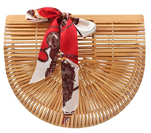 Womens Tote Bamboo Bag from Covelin, Handmade Top Handle Handbag for Summer Sea