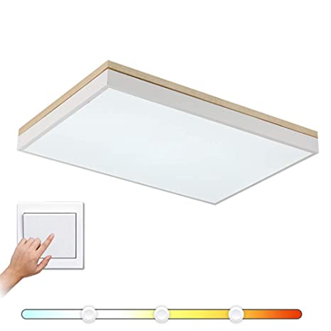 36b14e994759 VinDeng Modern Rectangle LED Ceiling Light Flush Mount, 18W White Ceiling  lamp Simple Wood Acrylic