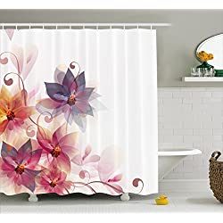 Ambesonne Abstract Decor Shower Curtain, Modern Floral Design with Burts and Leaves Detail Romantic Image, Fabric Bathroom Decor Set with Hooks, 84 Inches Extra Long, Pink Purple and Orange