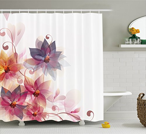 Ambesonne Abstract Decor Shower Curtain, Modern Floral Design with Burts and Leaves Detail Romantic Image, Fabric Bathroom Decor Set with Hooks, 84 Inches Extra Long, Purple Orange ()