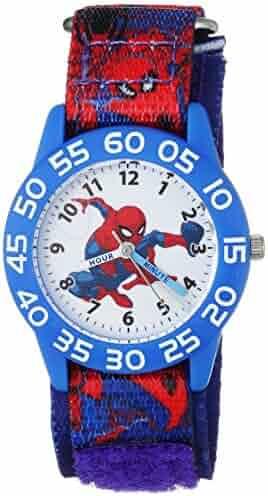 MARVEL Boy's Spider-Man' Quartz Plastic and Nylon Casual Watch, Color:Blue (Model: WMA000189)