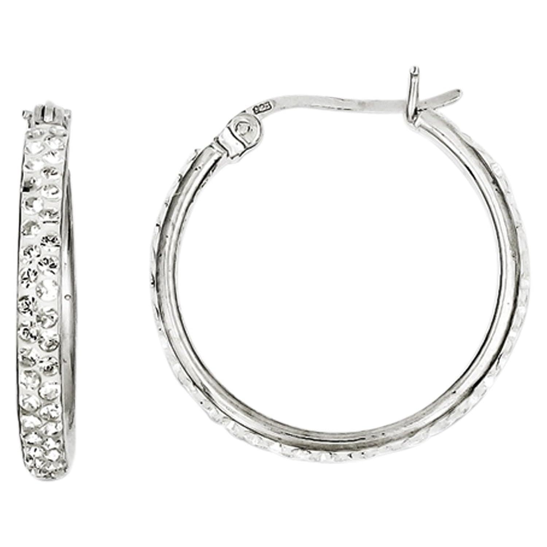 Sterling Silver White Swarovski Crystal Hoop Earrings