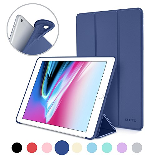 Price comparison product image New iPad 2017 iPad 9.7 Inch Case,  DTTO Ultra Slim Lightweight Smart Case Trifold Cover Stand with Flexible Soft TPU Back Cover for iPad Apple New iPad 9.7-inch [Auto Sleep / Wake] - Navy Blue