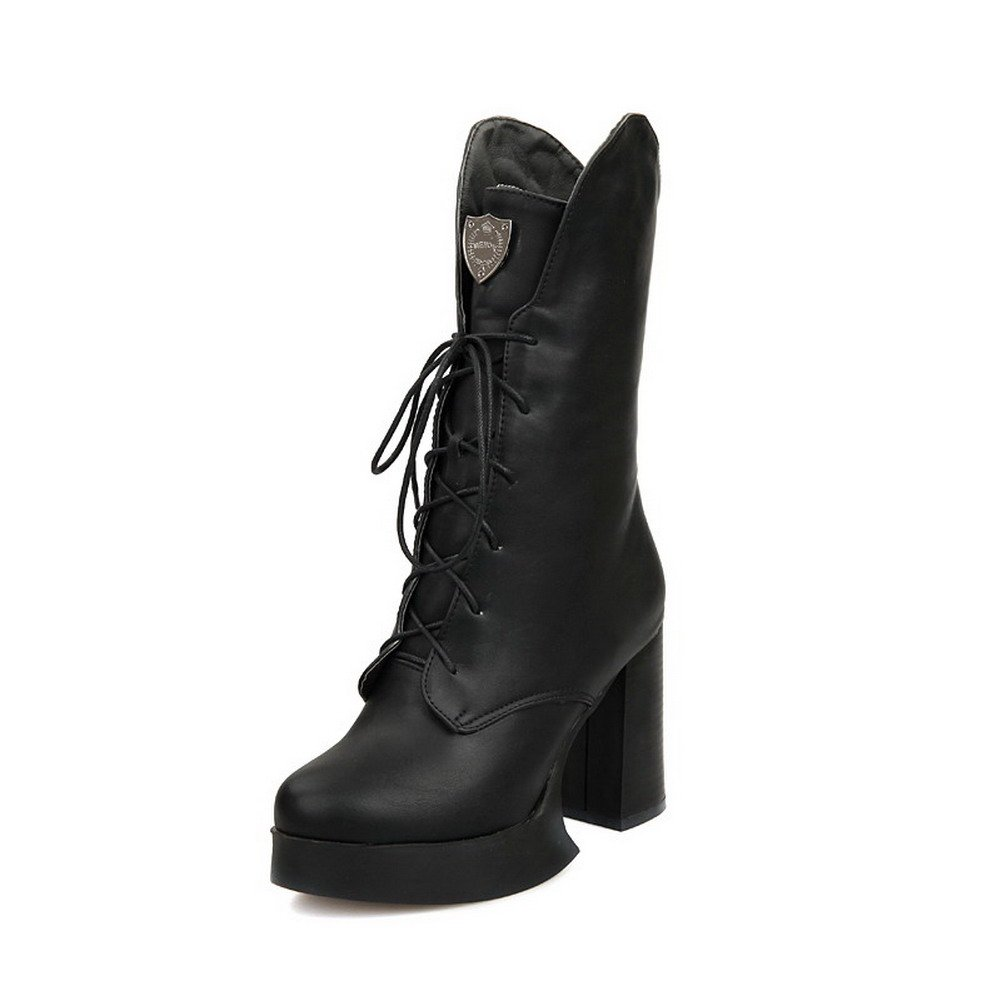 WeiPoot Womens Closed Round Toe High Heels Patent Leather Solid Boots with Platform and Wedge