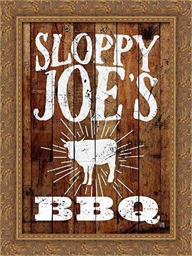 (Sloppy Joes BBQ 19x24 Gold Ornate Wood Framed Canvas Art by Perrenoud, Aubree)