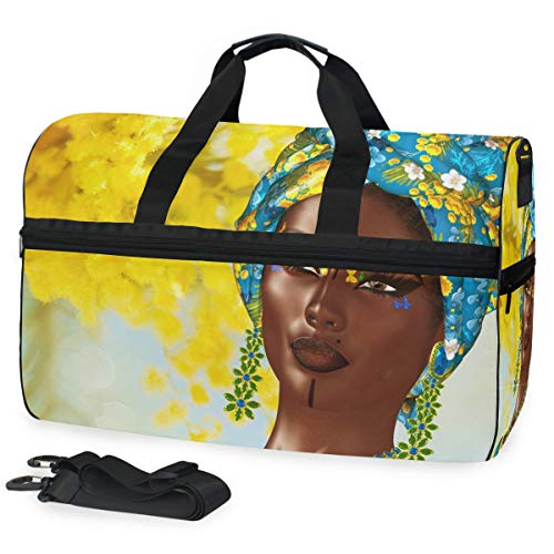 - African Fashion Queen Gym Bag with Shoes Compartment Sports Swim Travel Overnight Duffels