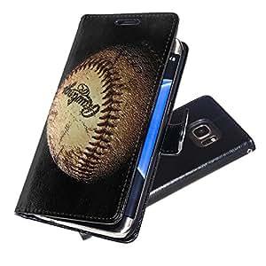Sport 001, béisbol, Negro Funda de Piel Cuero Case Magnética con Función de Soporte Carcasa con Diseño Texturado para Samsung Galaxy S7 Edge