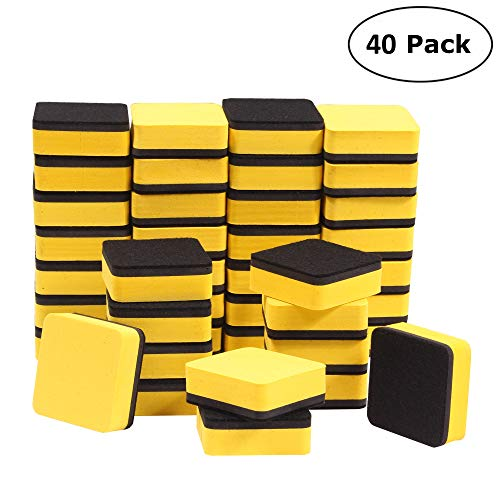 40 Piece Magnetic Whiteboard Eraser, Dry Erase Eraser Chalkboard Cleansers Wiper for Kids,Home,Office,School(Yellow) -