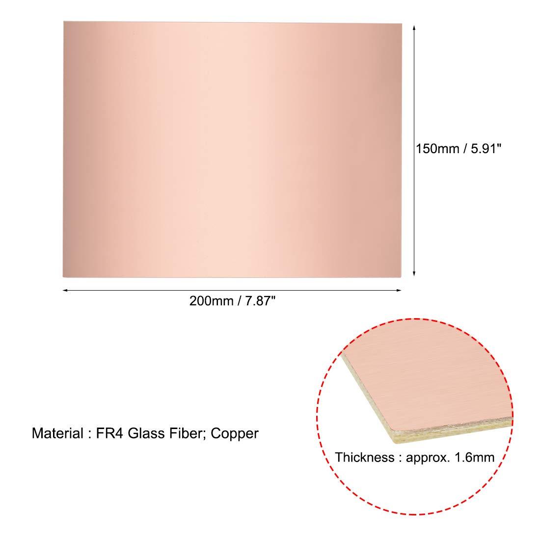 sourcing map 5Stk 180x120mm Doppelseitig Kupferbeschichtet Plattiert PCB Leiterplatte 1,5mm