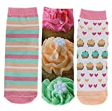 Ecko Red Women's Novelty Prints Low Cut Liner Socks 3 Pair Pack (Cupcakes)