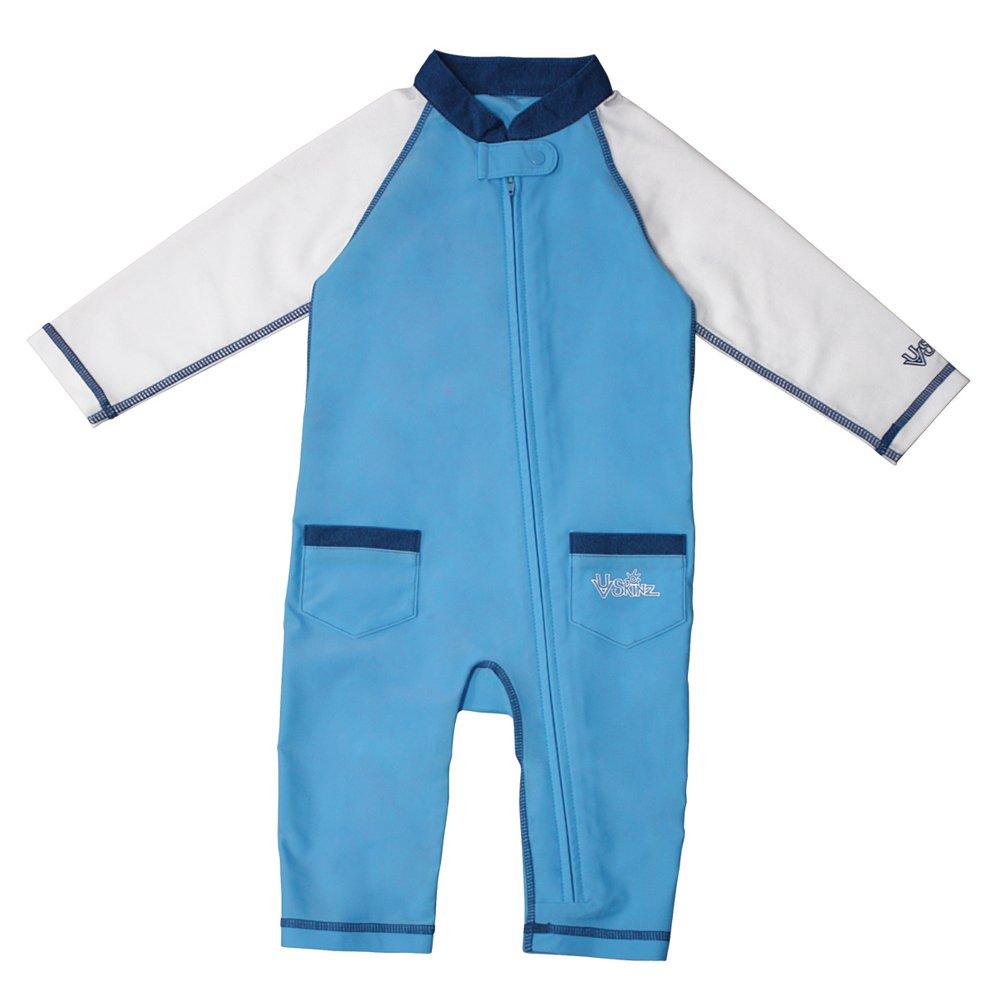 UV SKINZ UPF50+ Baby Boy Sun & Swim Suit-Ocean Blue/White-3/6m