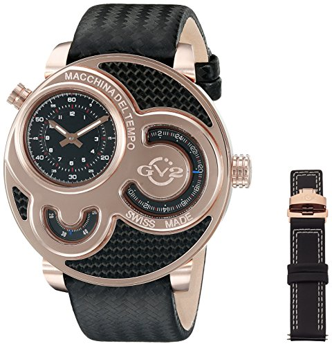 Gevril GV2 8303 Macchina Del Tempo, IP Rose Case, Black Dial, Black Fiber Band, Black & White Stitch, Men's