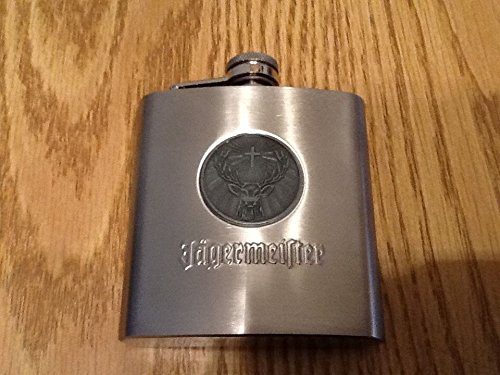 Jagermeister Stainless Steel Flask - Round  Stag Logo Medallion